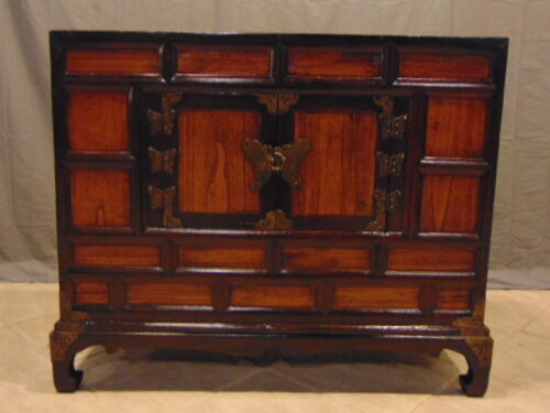 VINTAGE ANTIQUE CHINESE ASIAN DANSU CHEST W/ BRASS BUTTERFLY HINGES
