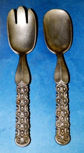 VINTAGE PAIR OF MODERNIST PEWTER SALAD SERVERS BY DAVID-ANDERSEN, NORWAY