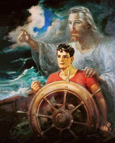 Warner Sallman CHRIST OUR PILOT 10x8 Art Print Jesus Young Man on Boat in Storm