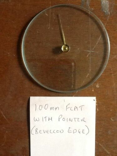 Barometer replacement glass - 100mm Flat with pointer & Bevelled edge