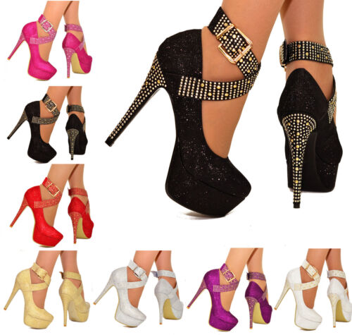 LADIES PLATFORM HIGH HEELS SPARKLY DIAMANTE STUD ANKLE STRAP PARTY SHOES 3-8