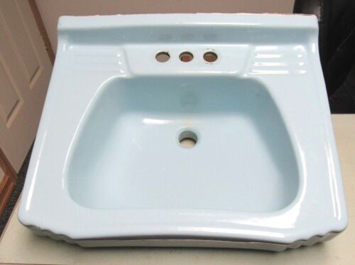 Antique Vtg Homart 20 Aqua Blue Bathroom Sink JULY 22 1953 Good Condition FRESHP