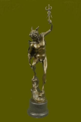 Hermes Nude Male Mercury Medical Caduceus Bronze Marble Statue Doctor RN Office