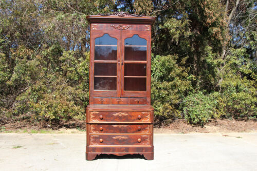 Tall Fancy Victorian Empire Flame Mahogany Secretary Desk with Secret Drawer