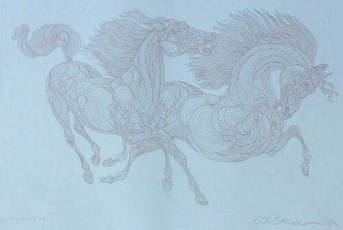Guillaume Azoulay Progression horses 23/25 HAND SIGNED Etching Moroccan Artist