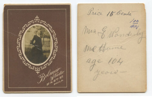 CDV STUDIO PORTRAIT 104 YR OLD LADY FROM PHILLY, PA,  IDED ON BACK, BY BELMAR