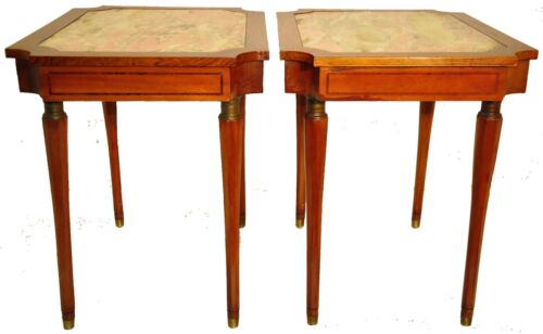 Beautiful Pair of Neoclassical Inlaid Rosewood & Mahogany Marble Top Side Tables