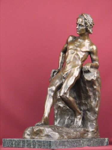 SIGNED BRONZE SCULPTURE NUDE MALE MODERN GAY ART LIMITED EDITION STATUE