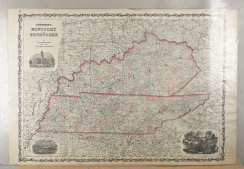 Johnson & Browning 1860s Map of Kentucky/Tennessee