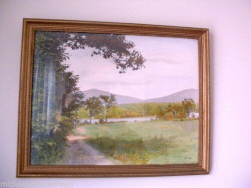 Antique Scenic Country Print Signed Neville