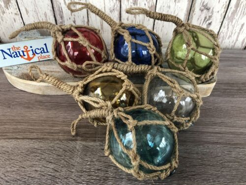 "(6) - 3"" Glass Curio Fishing Floats ~ Fish Net Buoy Decor ~ Blue, Green, Red"