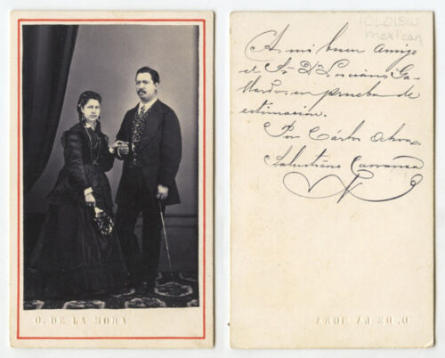 CDV STUDIO PORTRAIT YOUNG MAN   WIFE INFO ON BACK FROM MEXICO?, BY MORA