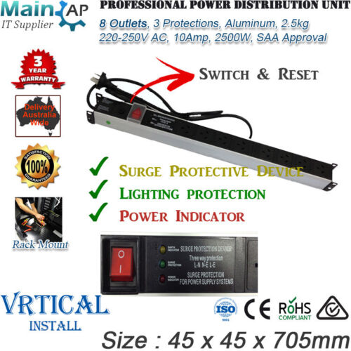 8 OUTLET SERVER RACK MOUNT 3 PROTECTIONS POWER DISTRIBUTION UNIT PDU POWER BOARD
