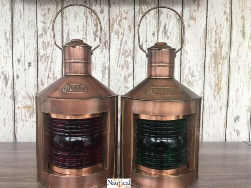 Metal Port & Starboard Lanterns ~ Set of 2 ~ Ship Oil Lamps ~ Nautical Light