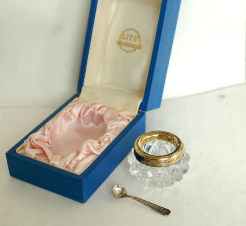 Antique Vintage Russian Crystal Salt Cellar Silver Rim Gold Spoon Set in Box