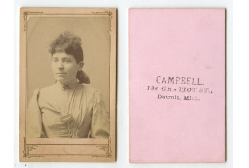 CDV STUDIO PORTRAIT LADY FROM DETROIT, MICH, BY CAMPBELL
