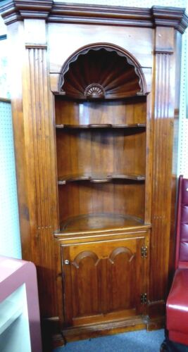 Antique Corner Cupboard w/Carved Shell Like Oval Office & Curved Shelves. 1840