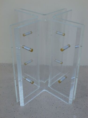 INCREDIBLE 70'S FIGURE X SUPER THICK LUCITE TABLE BASE WITH ROUND BRASS SPACERS