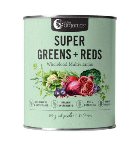 Nutra Organics Super Greens and Reds 300g now with Matcha
