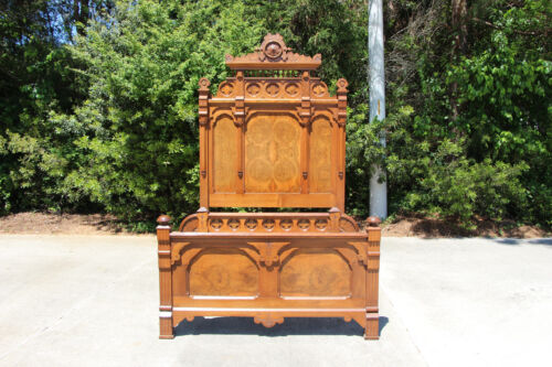 Spectacular Ornate Tall Burl Walnut Victorian Aesthetic Period Bed ~Ca.1880