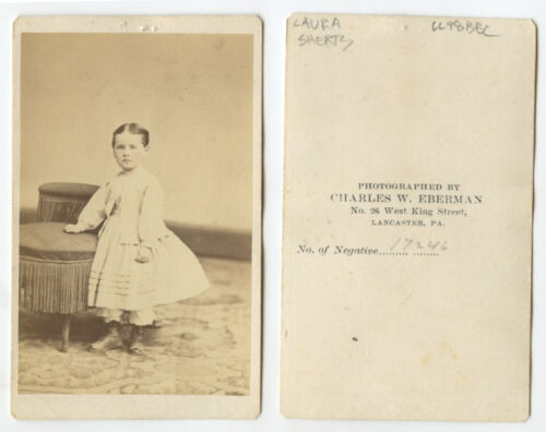 CDV STUDIO PORTRAIT YOUNG GIRL LAURA SHERTS FROM LANCASTER, PA, BY EBERMAN