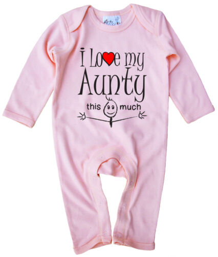 """Aunt Baby Clothes """"I Love My Aunty This Much"""" Baby Romper Suit Niece Nephew Gift"""