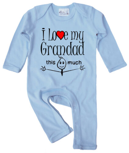 """Granddad Baby Clothes """"I Love My Grandad This Much"""" Baby Romper Suit Grandfather"""