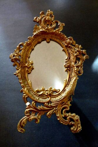 Beautiful Antique Acanthus Leaf Gold Cast Iron Oval Vanity Table Mirror Stand