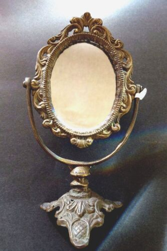 Antique Mirror Solid Brass Oval Vanity Table Top Mirror With Stand