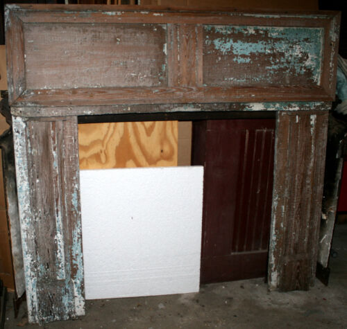 """c1890 Colonial Revival fireplace mantel, southern heart pine, rmnts blue, 52""""t"""