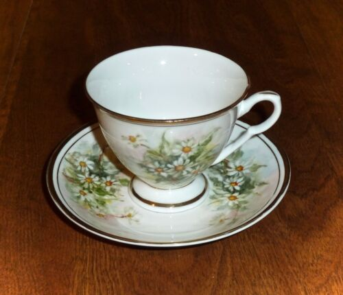 HAND PAINTED DAISIES - ANTIQUE FOOTED CUP & SAUCER SET - MADE IN CHINA MARKED SH