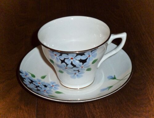 ROSINA - ANTIQUE *CORSET* CUP & SAUCER SET - MADE IN ENGLAND - FORGET-ME-NOTS
