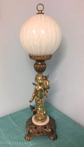 ANTIQUE Art Deco Brass SCULPTURE / STATUE TABLE LAMP with Original GLOBE