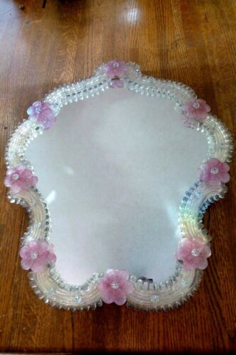 Antique Mirror Murano Glass Vanity Table Top Mirror Hand Made Italian Design