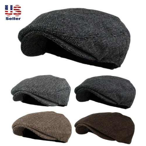 Men's Herringbone Wool Blend Tweed Newsboy Ivy Gatsby Cabbie Driving Golf Hat