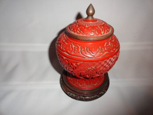 ANTIQUE RED CINNABAR COVERED URN W/BASE AND BRASS AND ENAMELED INTERIOR
