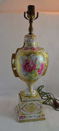 Ackermann Fritze Volkstedt Beehive Dresden Flower Lamp Baltimore Rose Thick Gold