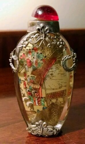 Japanese Reverse Painted Glass Snuff Bottle Silver Wrap Dragon Butterfly Signed
