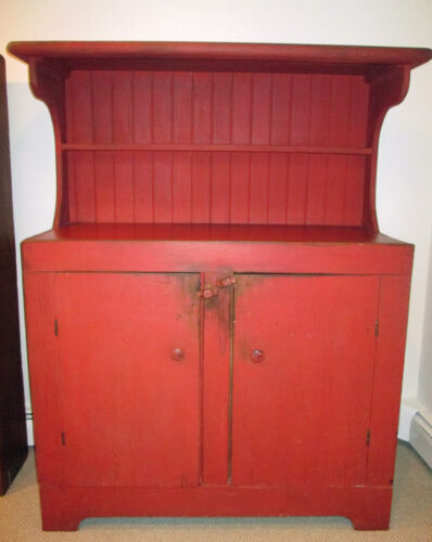Farmhouse Antique Primitive Sideboard Buffet Cabinet Painted Red Early American