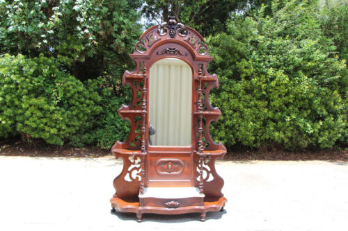 Magnificent Walnut Victorian Fruit & Nut Pierced Carved Marble Top Etagere c1860