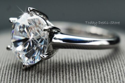 3 CT  ROUND CUT SOLITAIRE ENGAGEMENT ANNIVERSARY RING REAL 14K WHITE GOLD