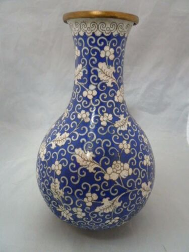 "Antique 19th Century Japanese Cloisonne Vase Chinese  BLUE AND WHITE  9.5 ""  T"