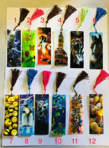 3 D Lenticular Assorted Bookmarks With Long Tassel Gift