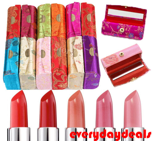 NEW!! Multi-Set Lipstick Satin Silk Case Pouch Holder / Coin Box with Mirror