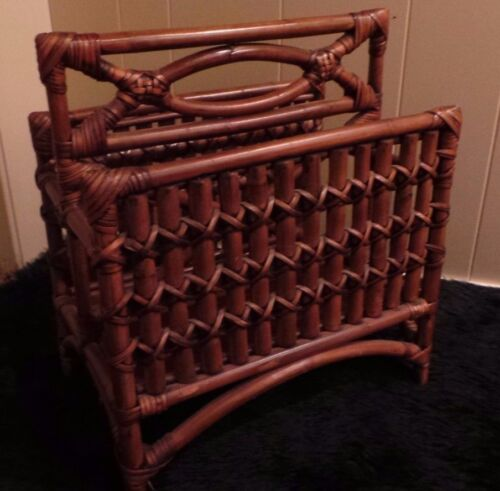 VERY LARGE ~ HEAVY SUBSTANTIAL BAMBOO WICKER MAGAZINE RACK VINTAGE BROWN