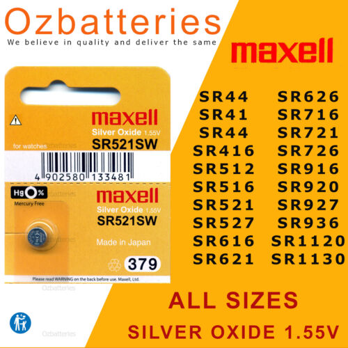 Maxell Watch batteries, Silver Oxide - All Sizes (GENUINE NOT FAKES)