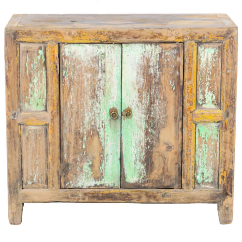 "Antique Chinese Asian 37"" W 33"" T 2 Door Rustic Blue Green Cabinet Chest Vanity"