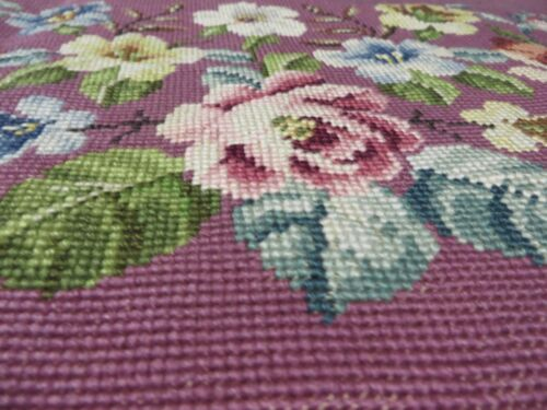 Vintage Elaborate Floral Needlepoint for Bench Used VG Reusable Condition