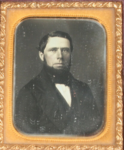 DAGUERREOTYPE MAN WITH CHIN BEARD, TINTED. 1/9TH PLATE UNION GEOMETRIC CASE.
