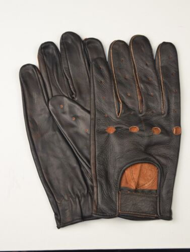 BROWN DISTRESSED LEATHER MENS DRIVING GLOVES OR MOTORCYCLE GLOVES